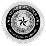 Texas instructor-led driver education seal.